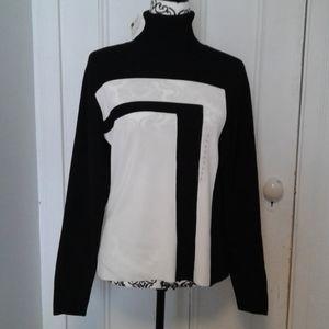 Worthington sweater turtleneck black & white SZ L